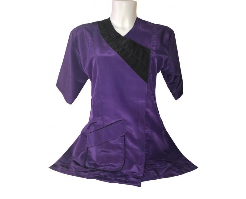 camice da toelettatura viola rifinitura nera