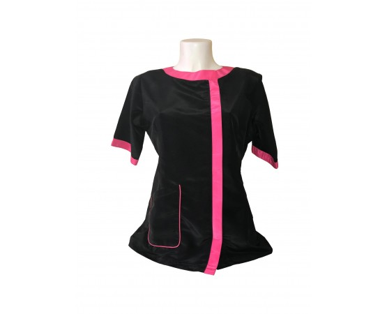 camice da toeletta nera rifinitura fucsia