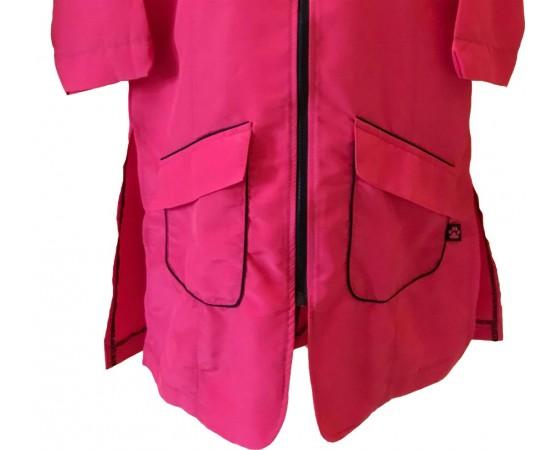 dettaglio tasche camicie fucsia bordo nero per toelettatura