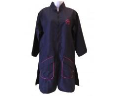 camice lungo colore blu con bordi rifinitura fucsia