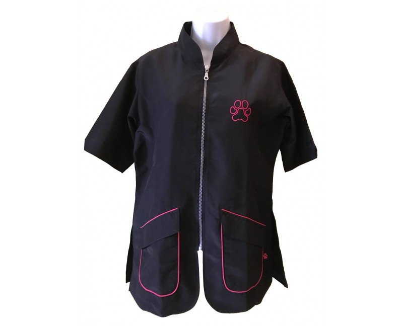 camice da toelettatura a scollo coreano rifinitura rosa