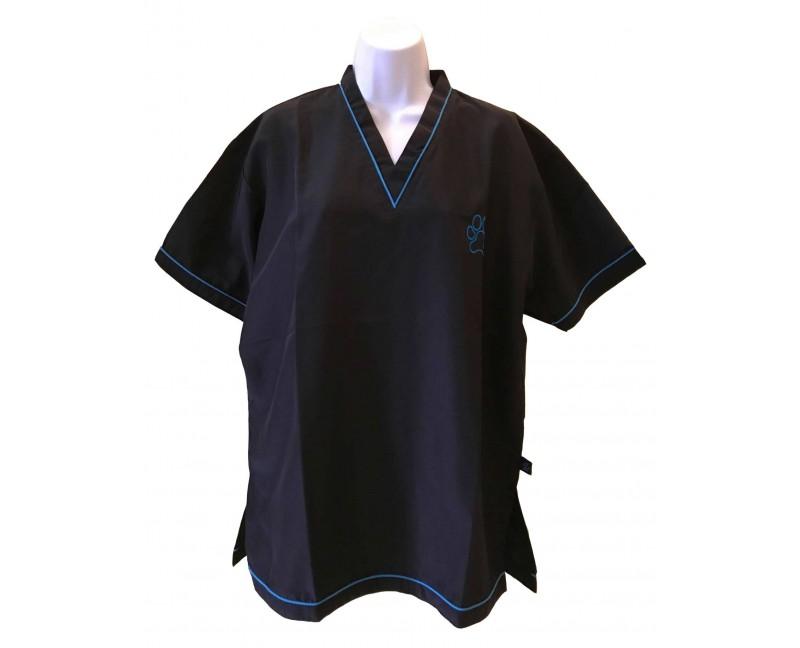 Camice da toelettatura con scollo a V colore nero con rifinitura Blu